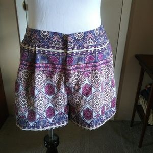 Forever 21 purple and blue patterned shorts size M